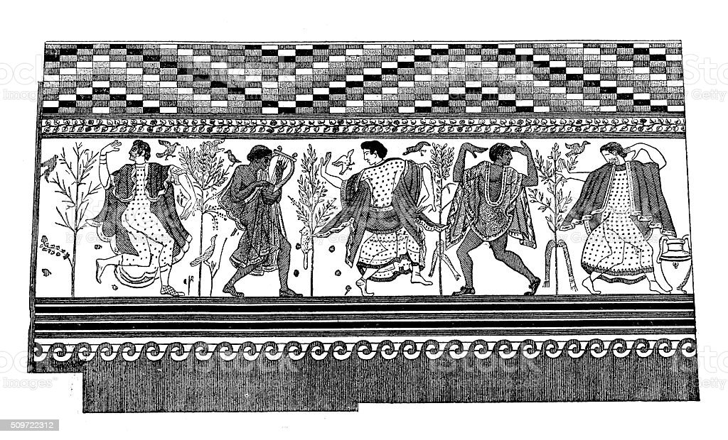 Antique illustration of wall painting from Etruscan tomb in Tarquinia vector art illustration