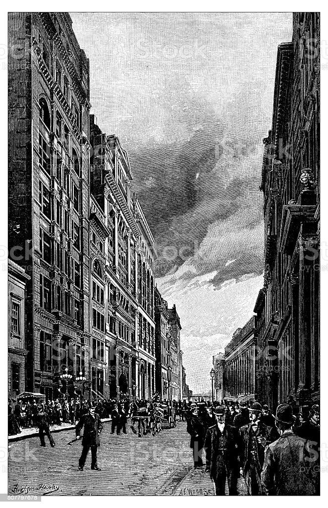 Antique illustration of Wall Street vector art illustration