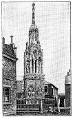 Antique illustration of Waltham Cross