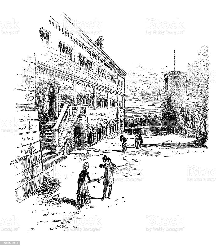 Antique illustration of Wartburg great court-yard vector art illustration