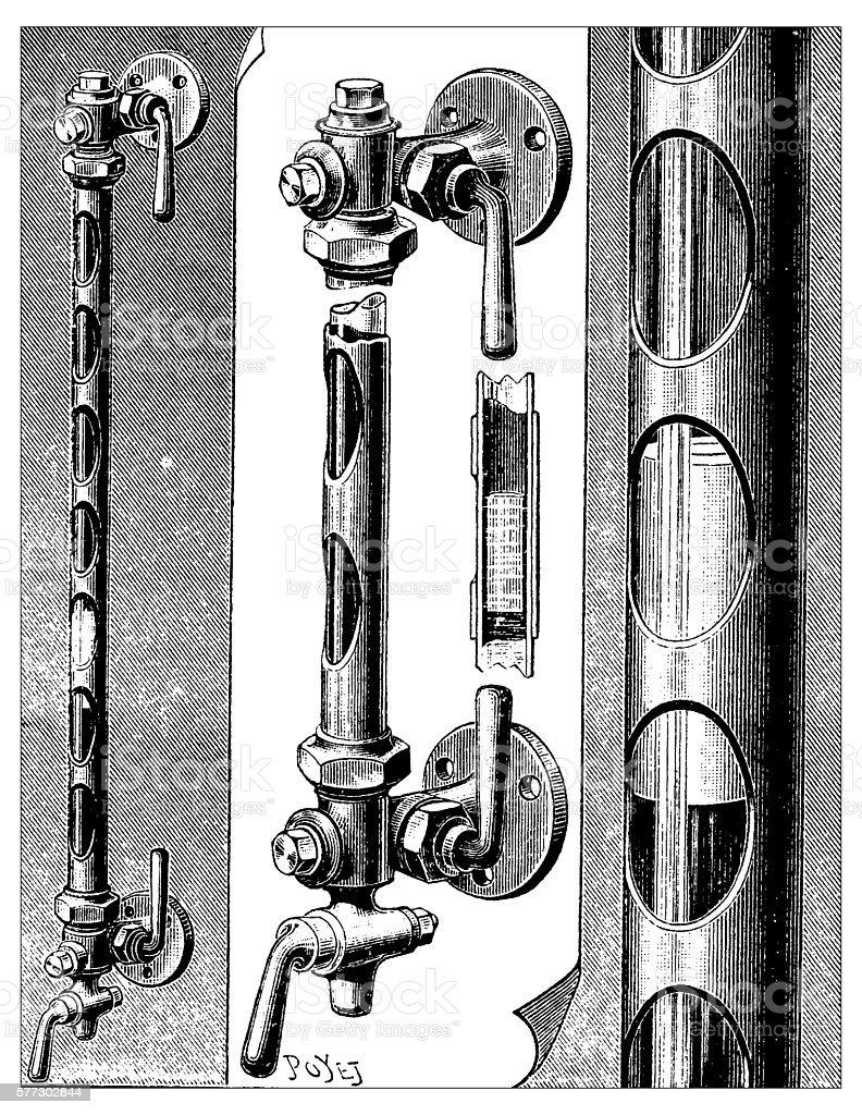 Antique illustration of water level pipes vector art illustration