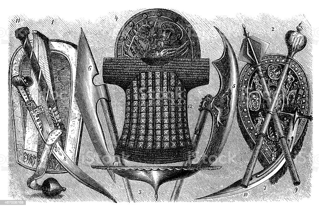 Antique illustration of weapons and armors vector art illustration