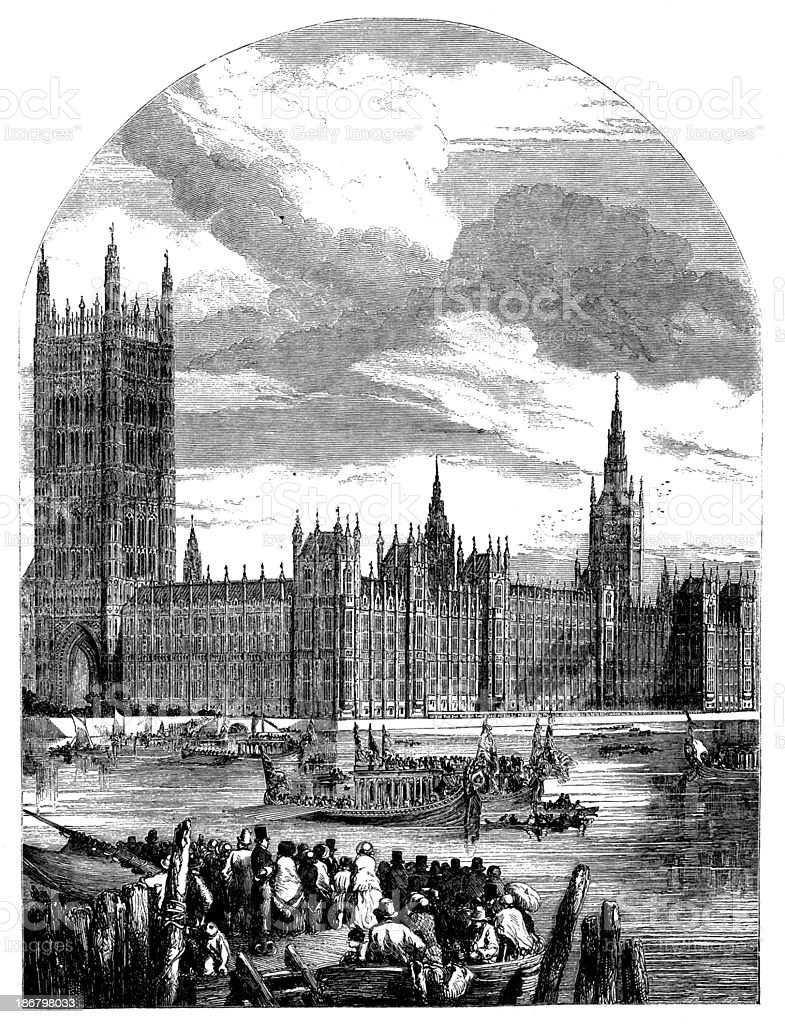 Antique illustration of Westminster vector art illustration