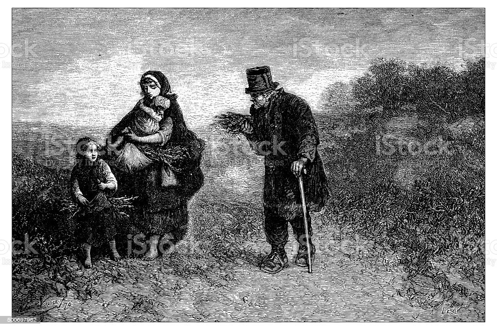 Antique illustration of widow and children comforted by a man vector art illustration