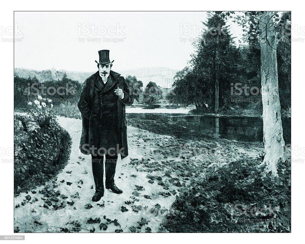 Antique illustration of 'Wilhemshoehe' by La Touche vector art illustration