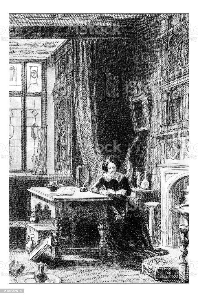Antique illustration of woman in office vector art illustration