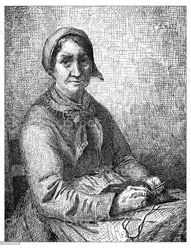 Antique illustration of woman knitting vector art illustration