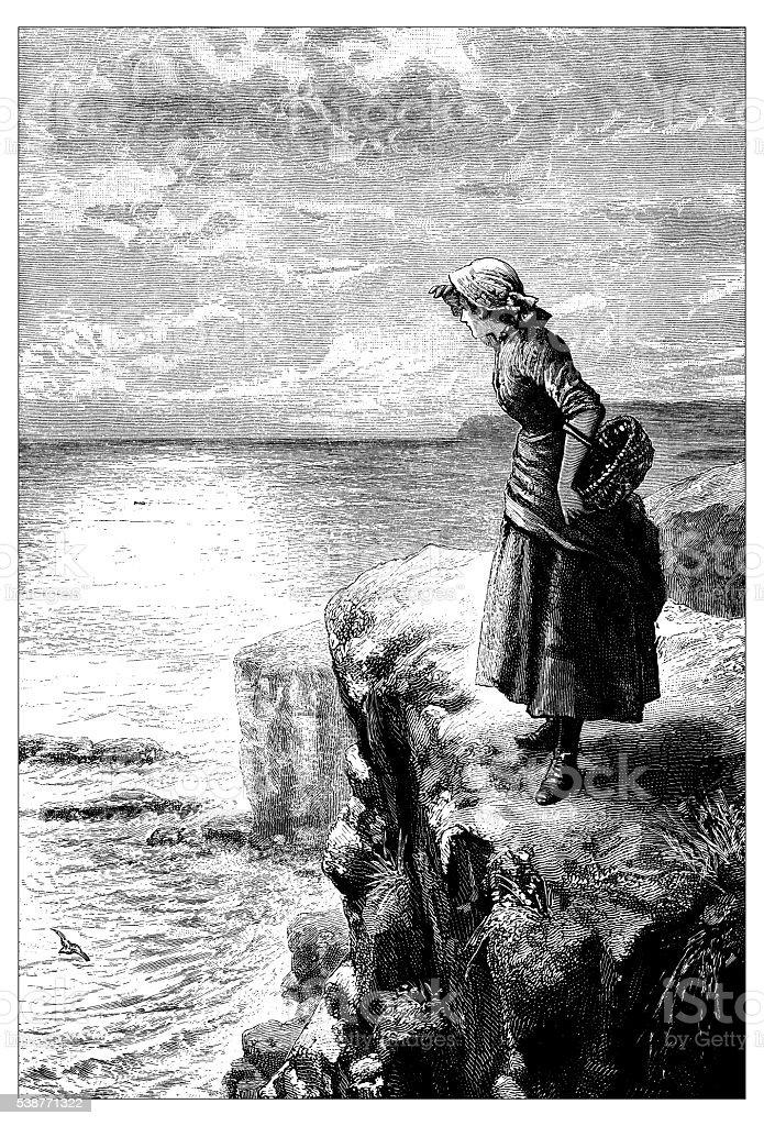 Antique illustration of woman looking at sea vector art illustration