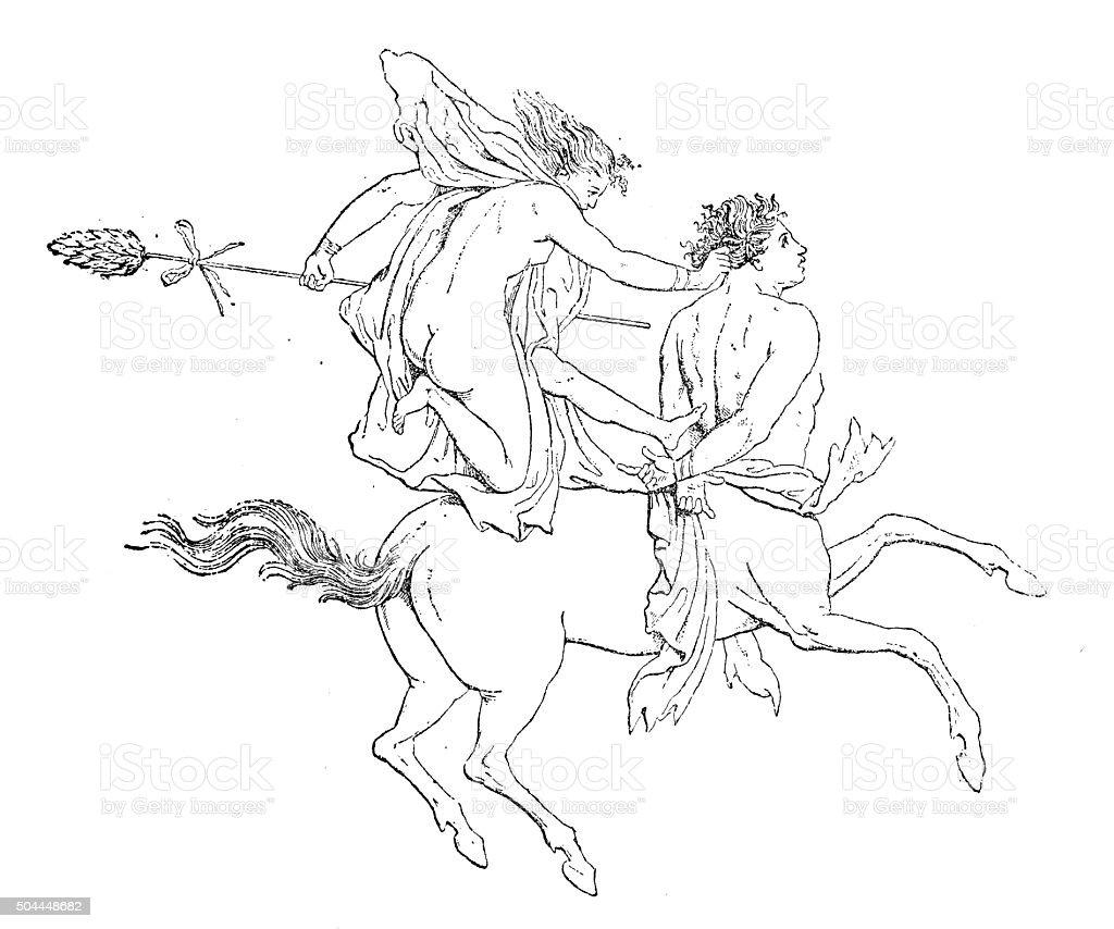 Antique illustration of woman (Bacchant) riding a Centaur vector art illustration