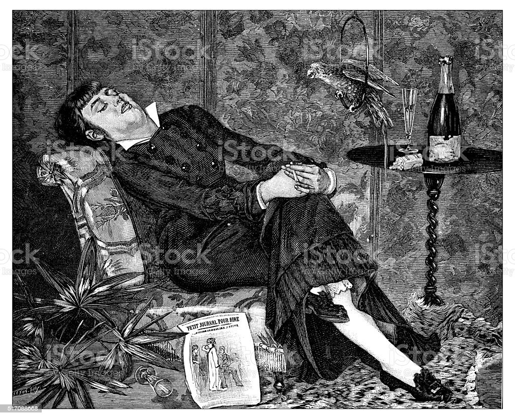 Antique illustration of woman sleeping on her armchair vector art illustration