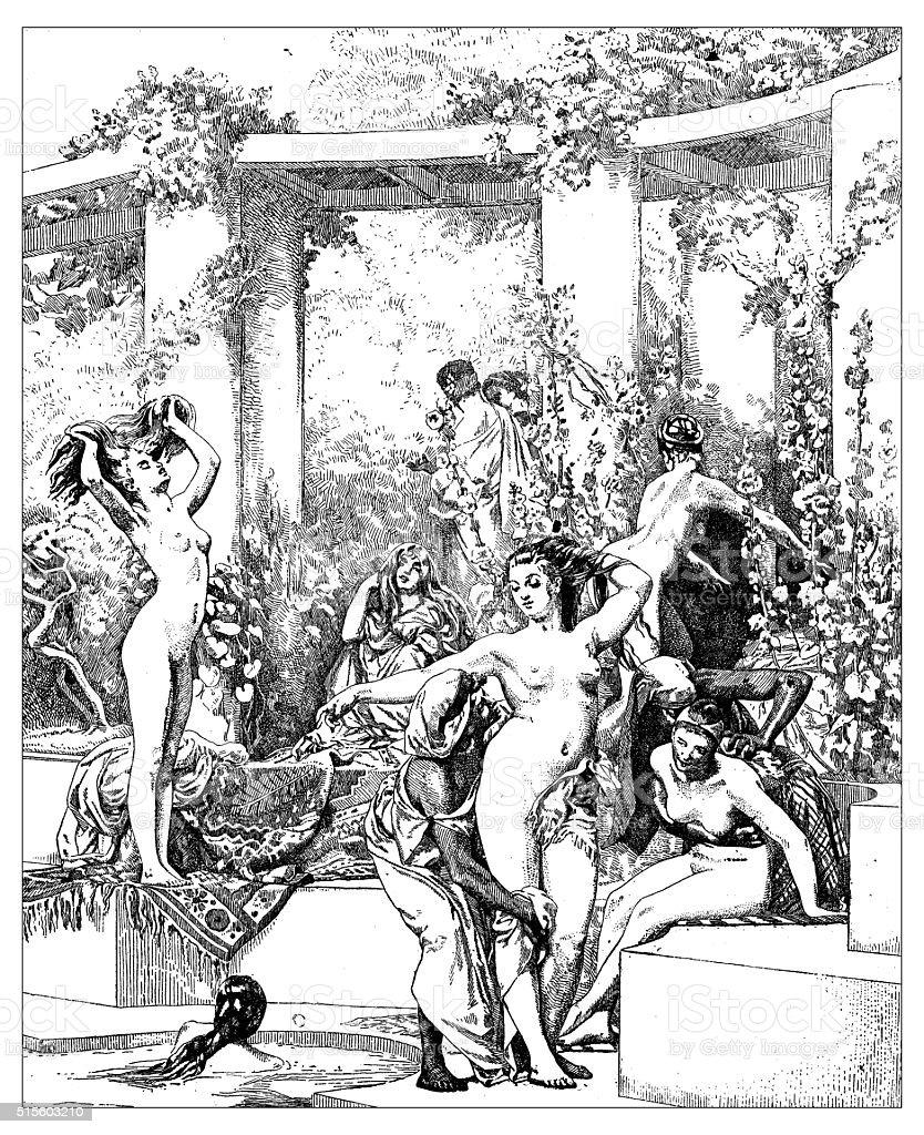 Antique illustration of women bathing in ancient Pompeii vector art illustration