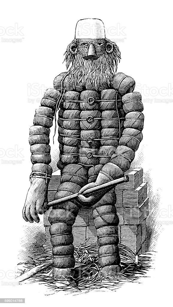 Antique illustration of yarn dummy vector art illustration