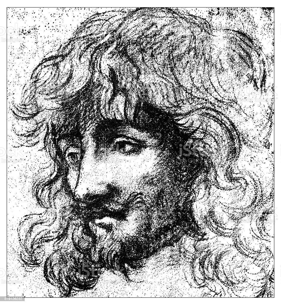 Antique illustration of young man portrait by Van Dick vector art illustration