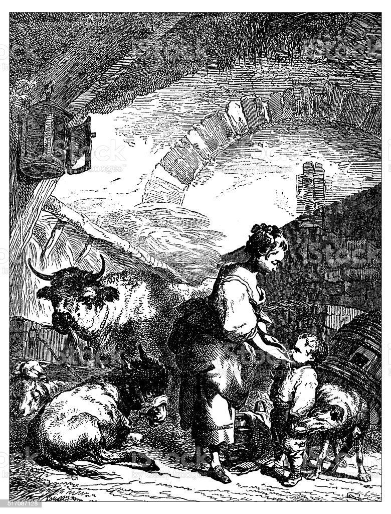Antique illustration of young shepherdess and kid in the stable vector art illustration