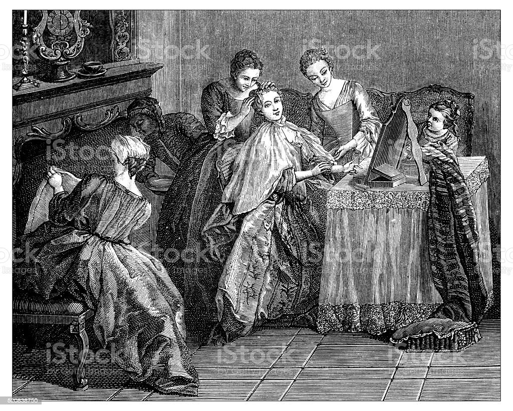 Antique illustration of young women's toilette at the dressing table vector art illustration