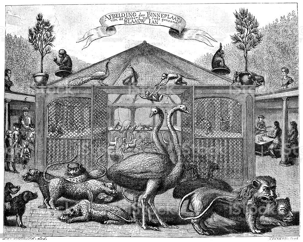 Antique illustration of zoo vector art illustration