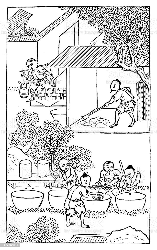 Antique illustration: porcelain production in China (2 of 16 images) vector art illustration
