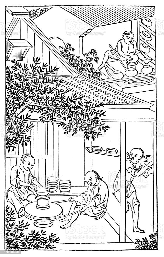 Antique illustration: porcelain production in China (5 of 16 images) royalty-free stock vector art