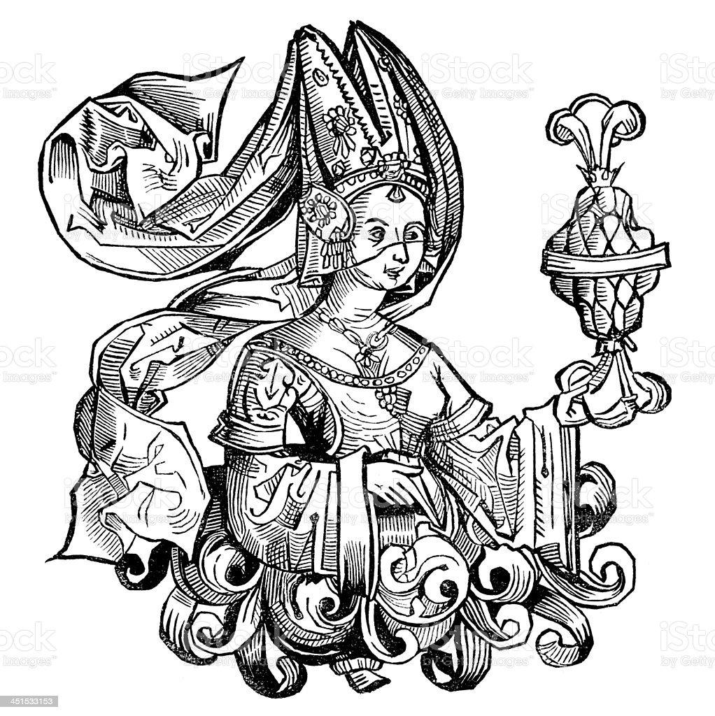 Antique illustration Queen of Sheba royalty-free stock vector art