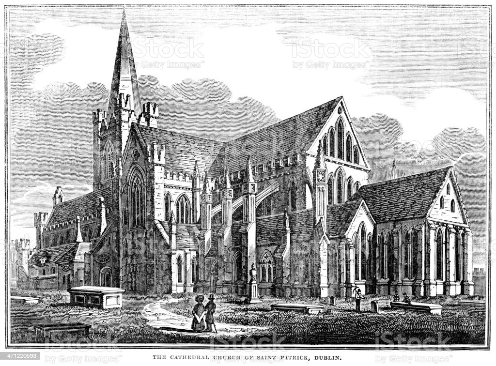 Antique illustration - The Cathedral Church of St Patrick, Dublin royalty-free stock vector art