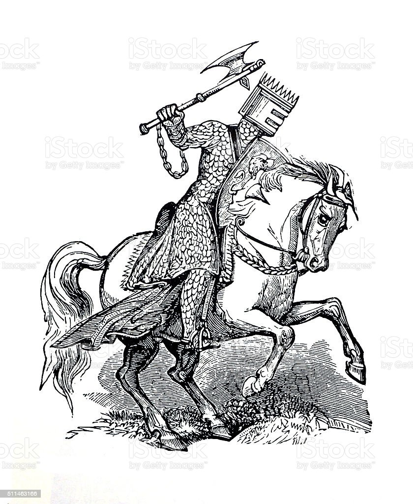 Antique Image Knight on a horse. stock photo