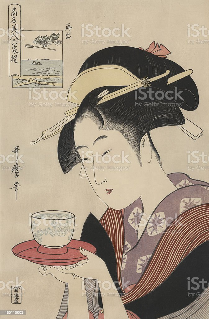 Antique Japanese Woodblock, woman serving tea vector art illustration