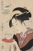 Antique Japanese Woodblock, woman serving tea