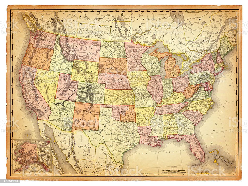 USA Antique Map vector art illustration