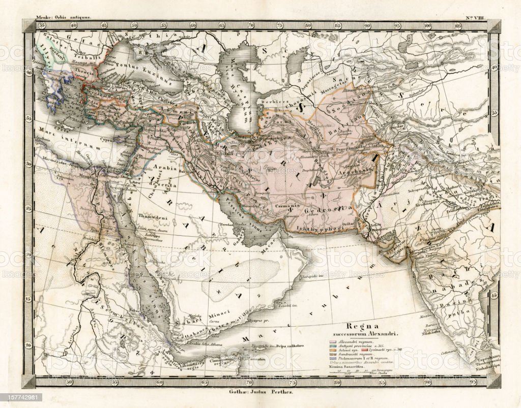 Antique Map of Alexander the Great's Empire vector art illustration