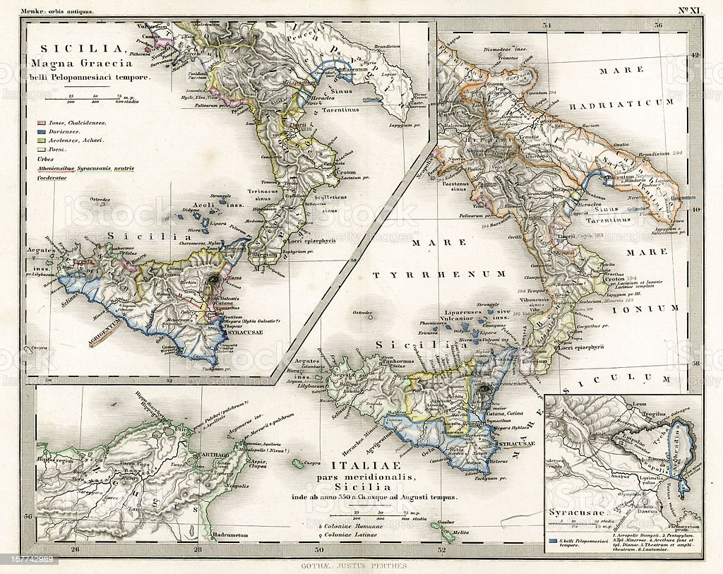 Antique Map of Ancient Southern Italy royalty-free stock vector art