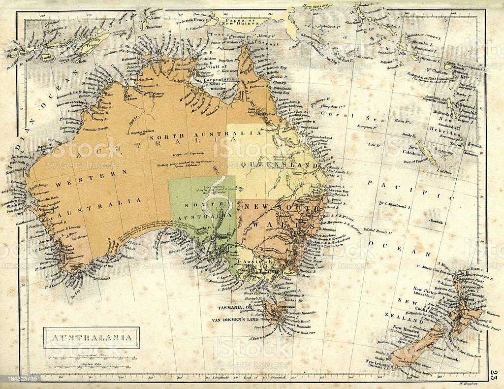 Antique map of Australia and New Zealand vector art illustration