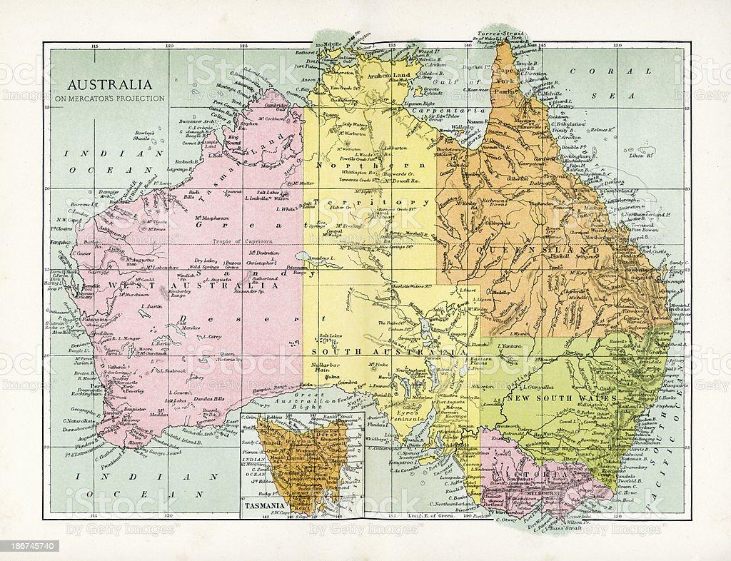 Antique Map of Australia royalty-free stock vector art