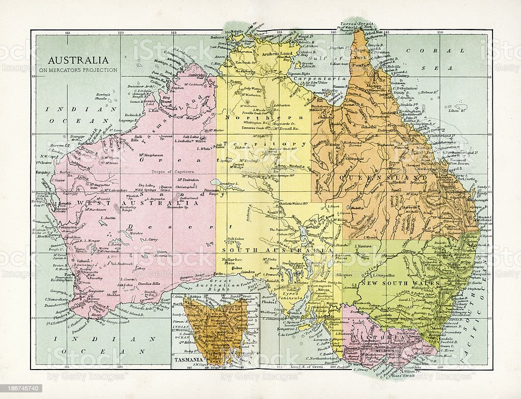 Antique Map of Australia vector art illustration