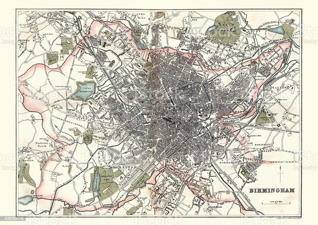 Antique Map of Birmingham, England, 1880 vector art illustration