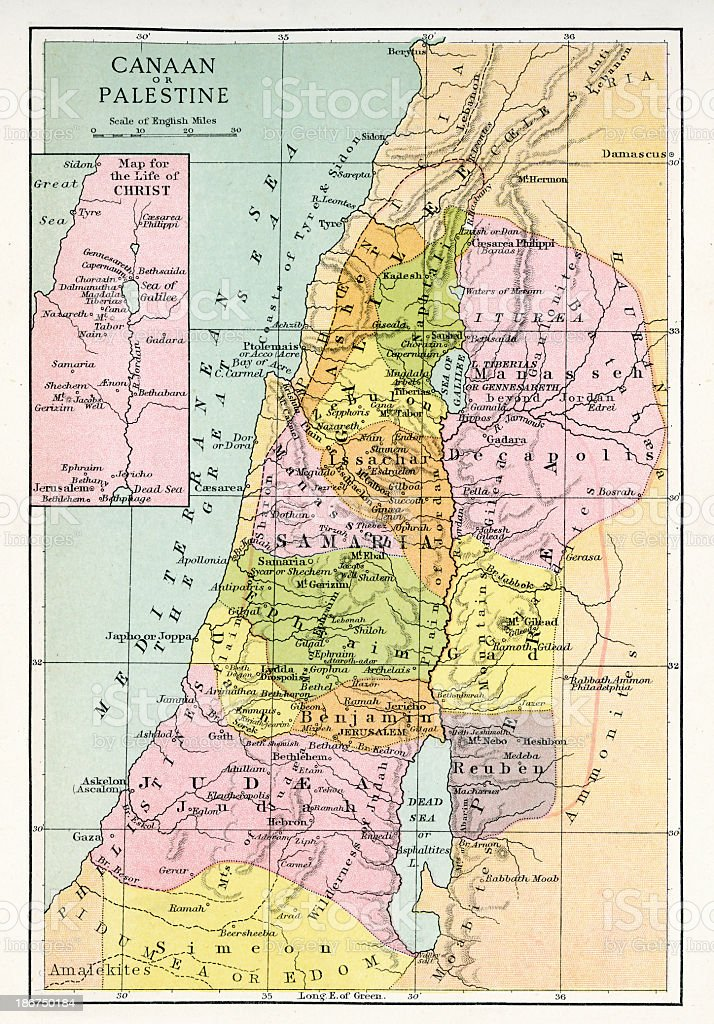 Antique Map of Canaan or Palestine vector art illustration