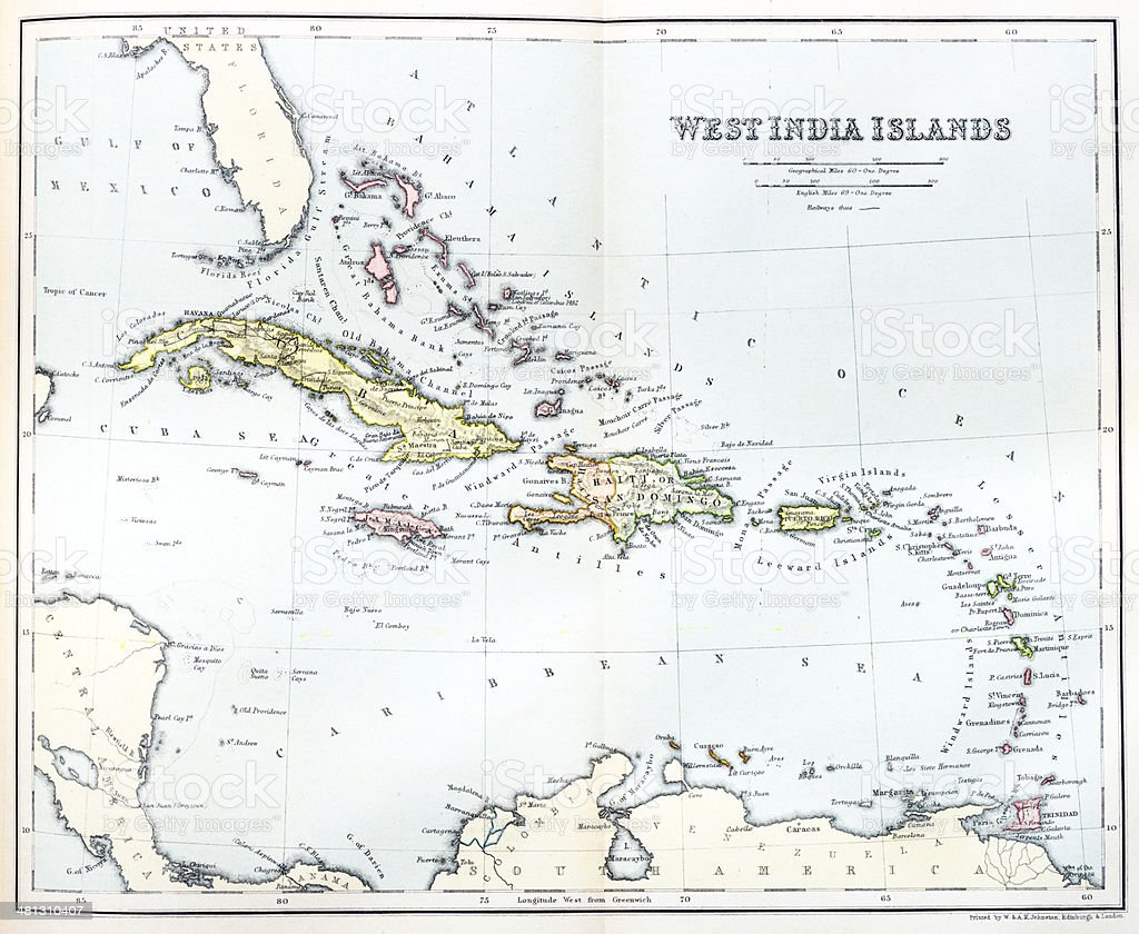 Antique map of Caribbean vector art illustration