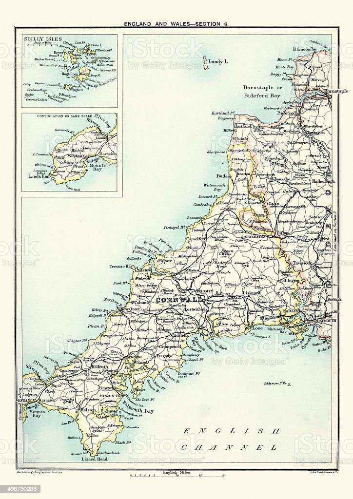 Antique Map of Cornwall and the Scilly Isles, 1891 vector art illustration