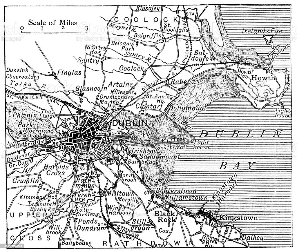 Antique map of Dublin vector art illustration