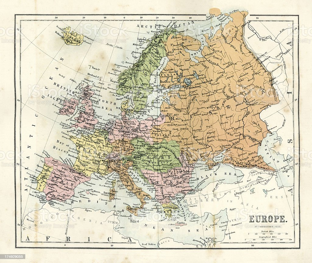Antique Map of Europe royalty-free stock vector art