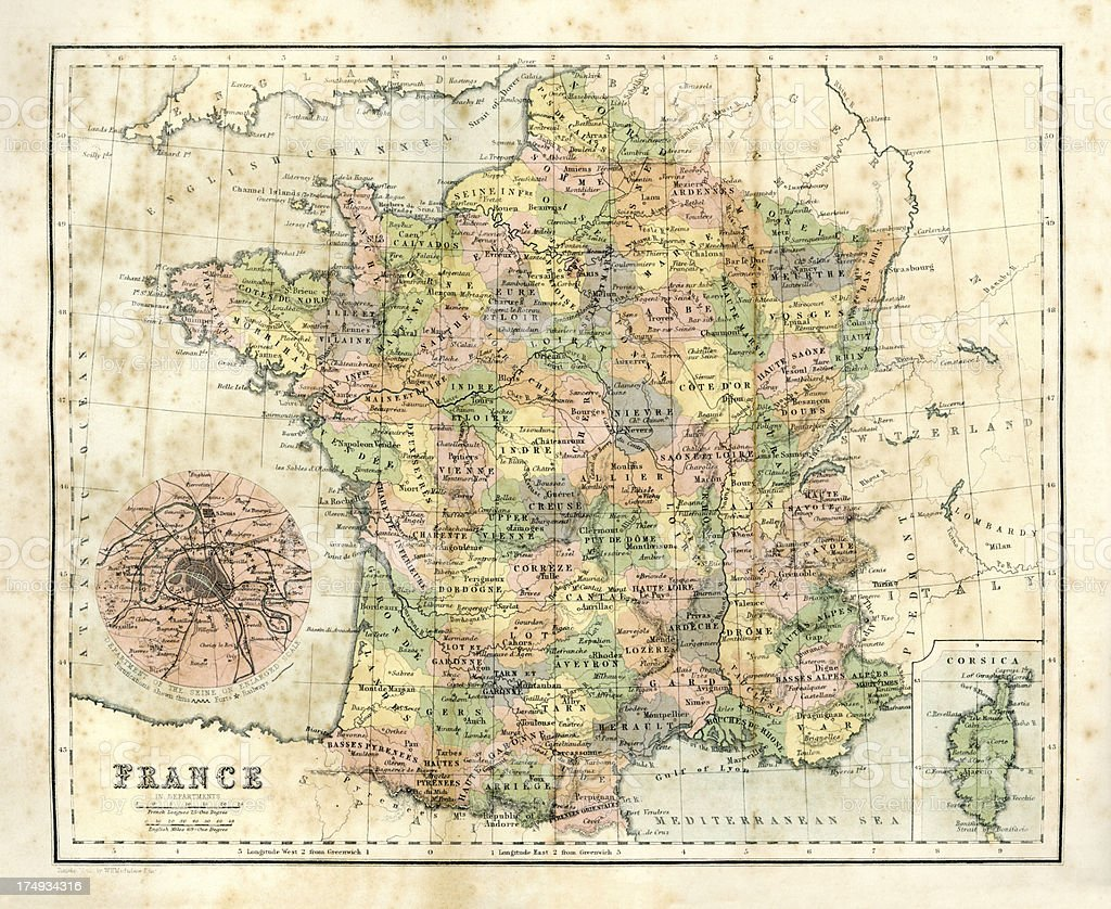 Antique map of France royalty-free stock vector art
