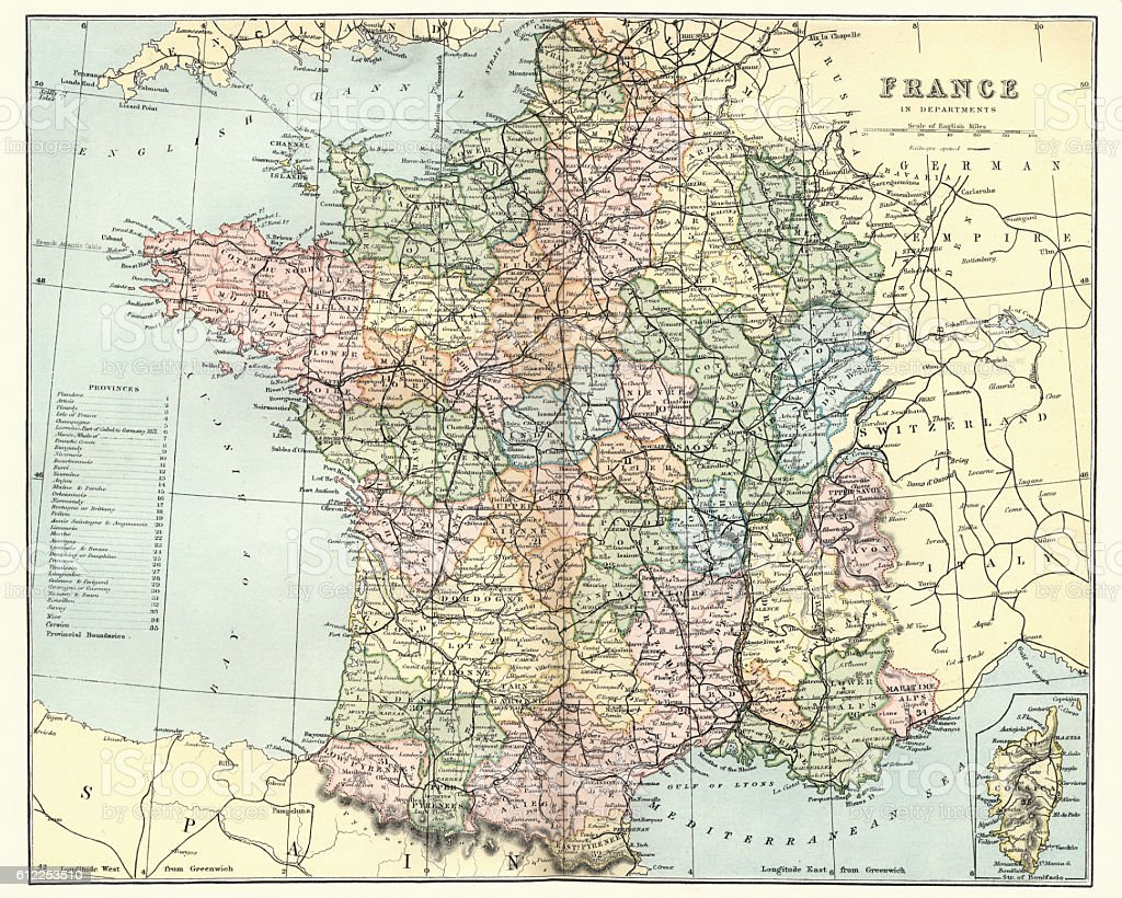 Antique map of France in departments, 1880 vector art illustration