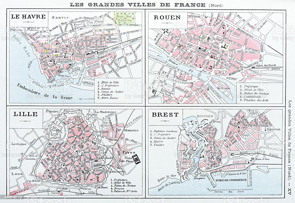 Antique map of French cities: Le Havre, Rouen, Lille, Brest vector art illustration