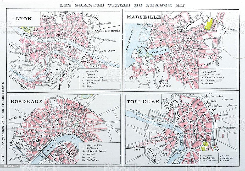 Antique map of French cities: Lyon, Marseille, Bordeaux, Toulouse vector art illustration