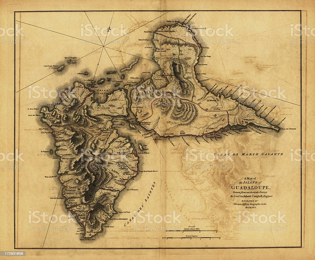 Antique map of Guadeluope Island vector art illustration