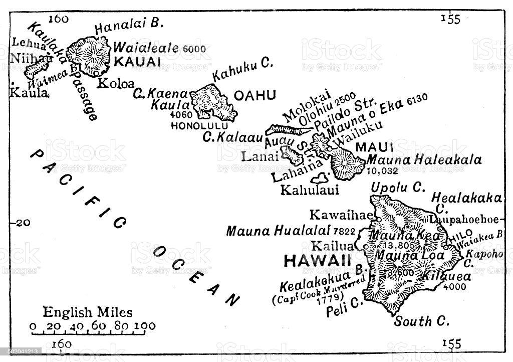 Antique map of Hawaii vector art illustration