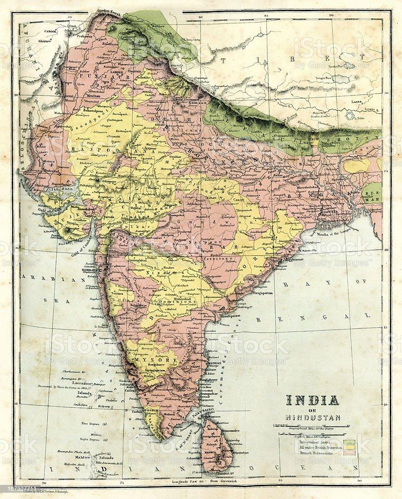Antique map of India vector art illustration