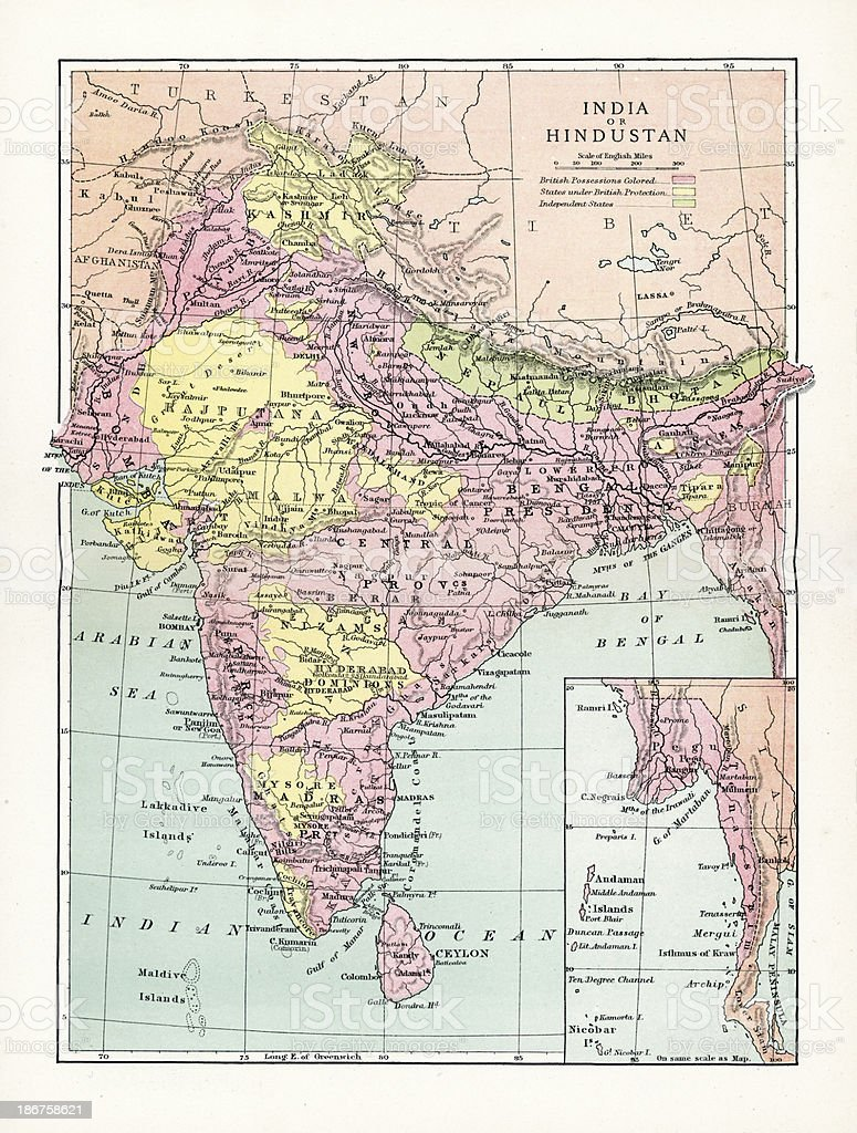 Antique Map of India or Hindustan vector art illustration