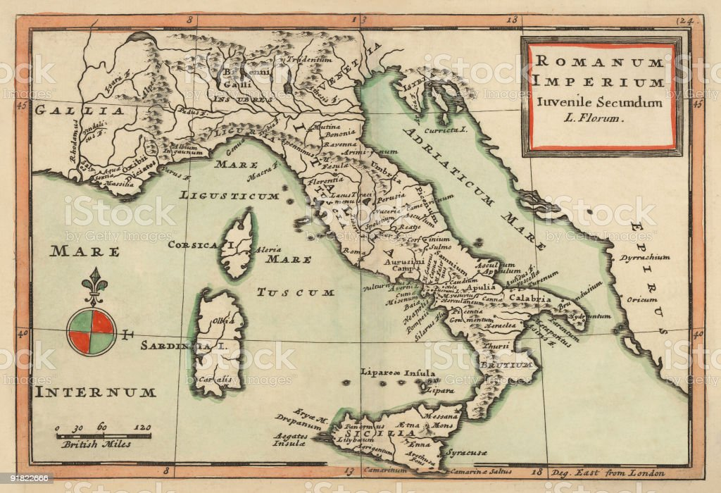 Antique Map of Italy 1732 royalty-free stock vector art