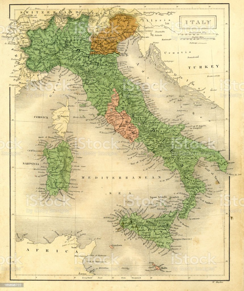 Antique map of Italy vector art illustration