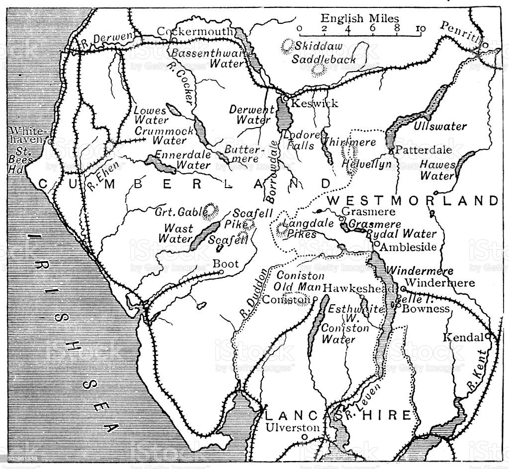 Antique map of Lake District vector art illustration
